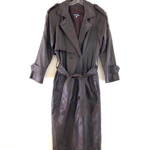 Davenel Chocolate Belted Leather Trench Coat S